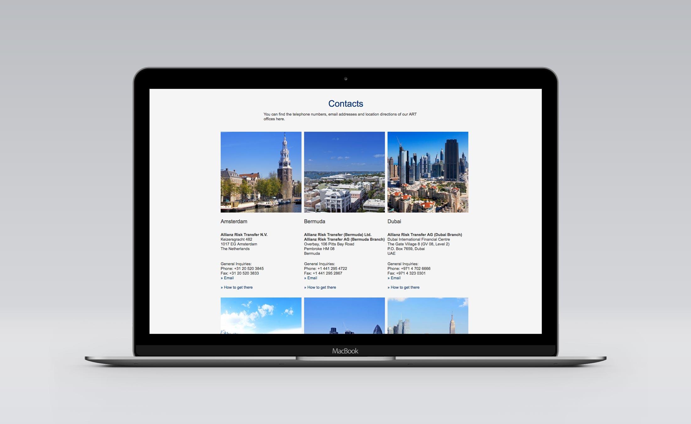 Website_Standorte der Allianz Risk Transfer Zürich