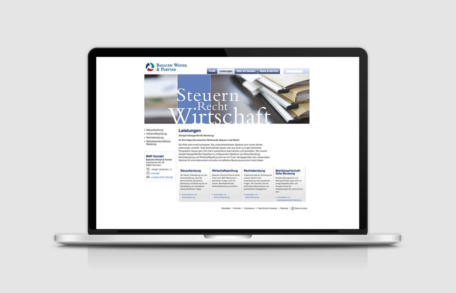 Website Relaunch: Leistungen Badache Weindl Partner