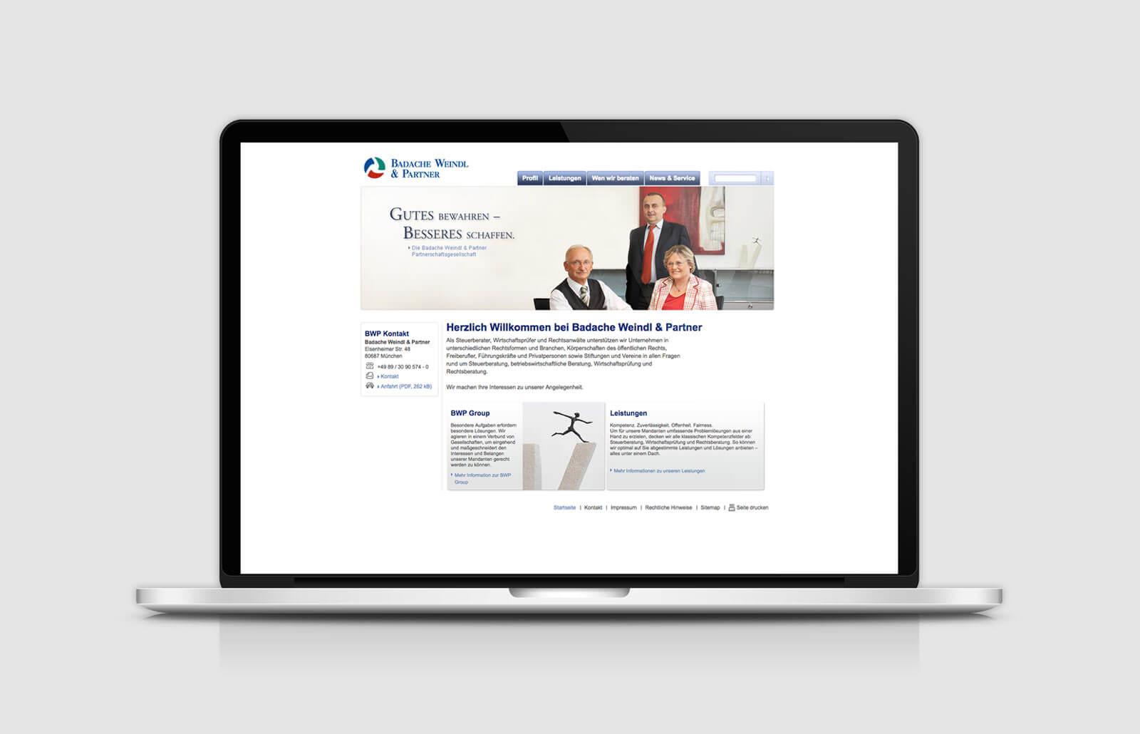 Website Relaunch: Homepage Badache Weindl Partner