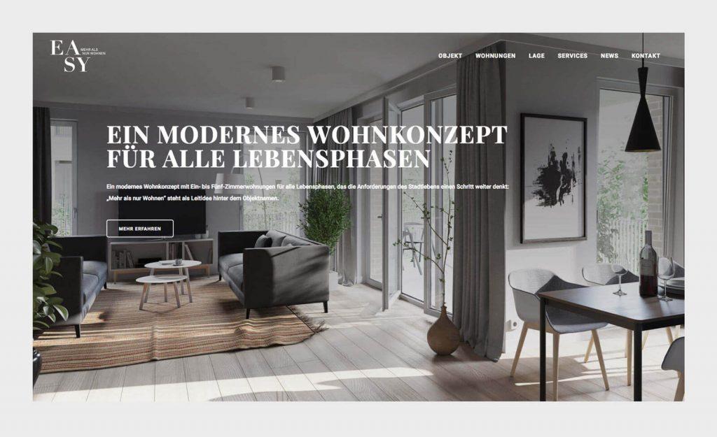 Modernes Wohnkonzept. Website EASY München