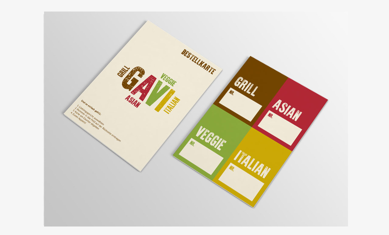 Branding für Restaurant GAVI: Bestellkarte