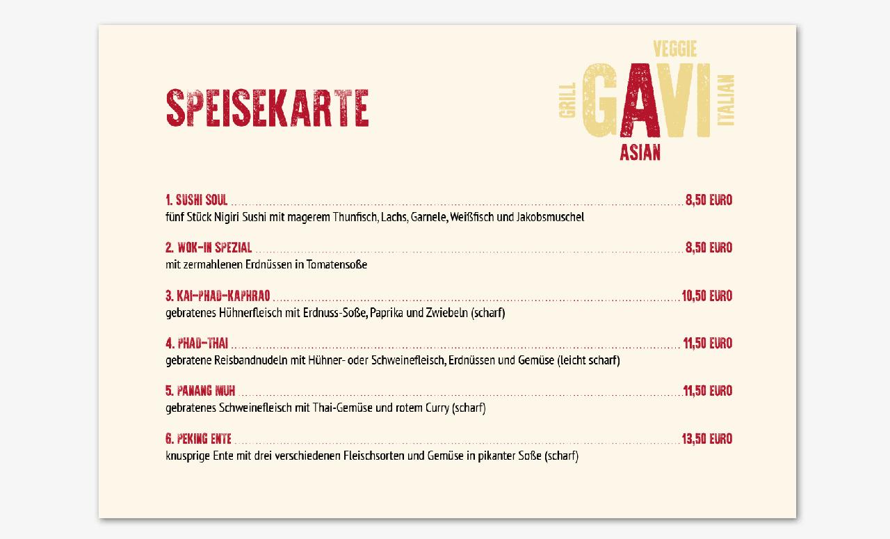 Speisekarte für Restaurant GAVI