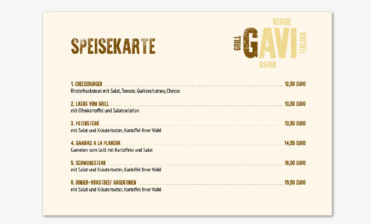 Branding für Restaurant GAVI: Speisekarte