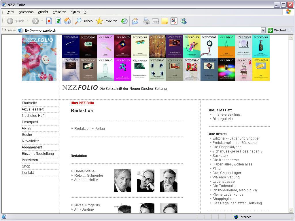 NZZ Folio Website die Redaktion