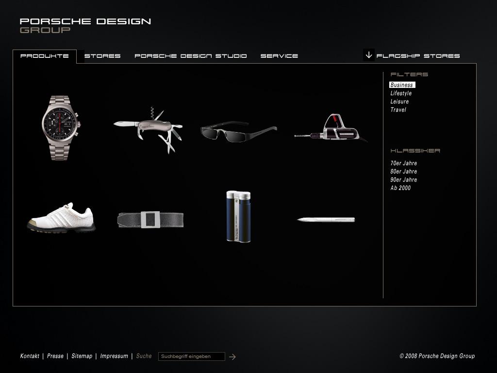 Website Relaunch Porsche Design Group Auswahl mit Filtern