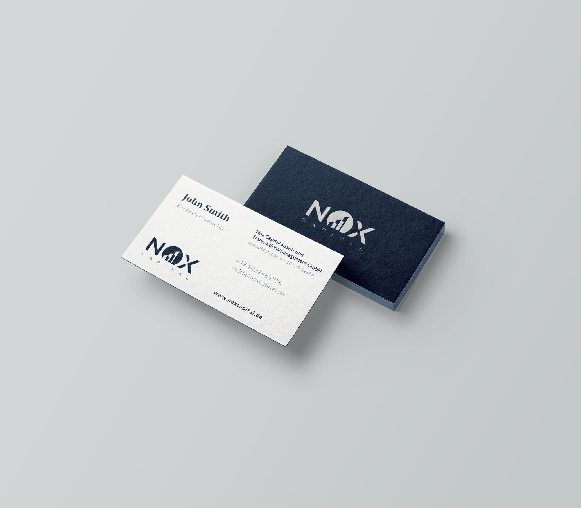 Corporate Design: Visitenkarten Nox Capital