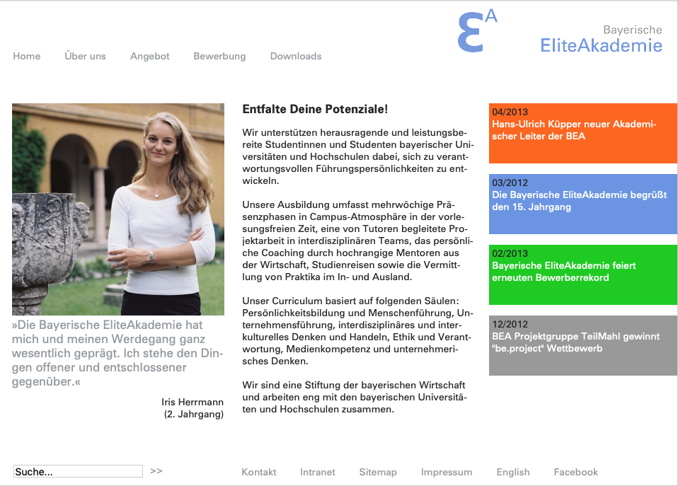 Screenshot2 Relaunch Website Bayerische Eliteakademie