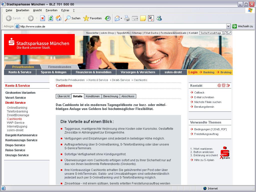 Stadtsparkasse Privatkunden Website Kontoführung
