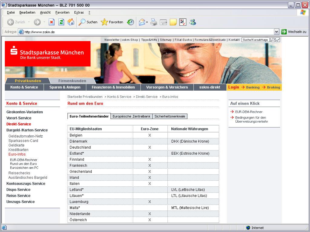 Stadtsparkasse Privatkunden Website Euro_infos